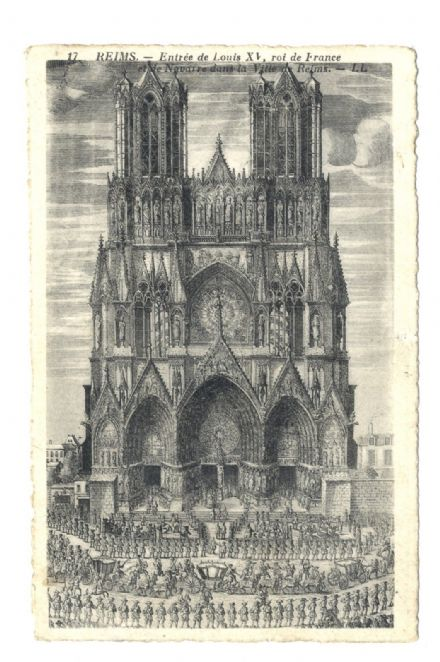 1920 circa POSTCARD Levy Neurdein REIMS CATHEDRAL FRANCE Deckled Edge Engraving ANTIQUE (17)